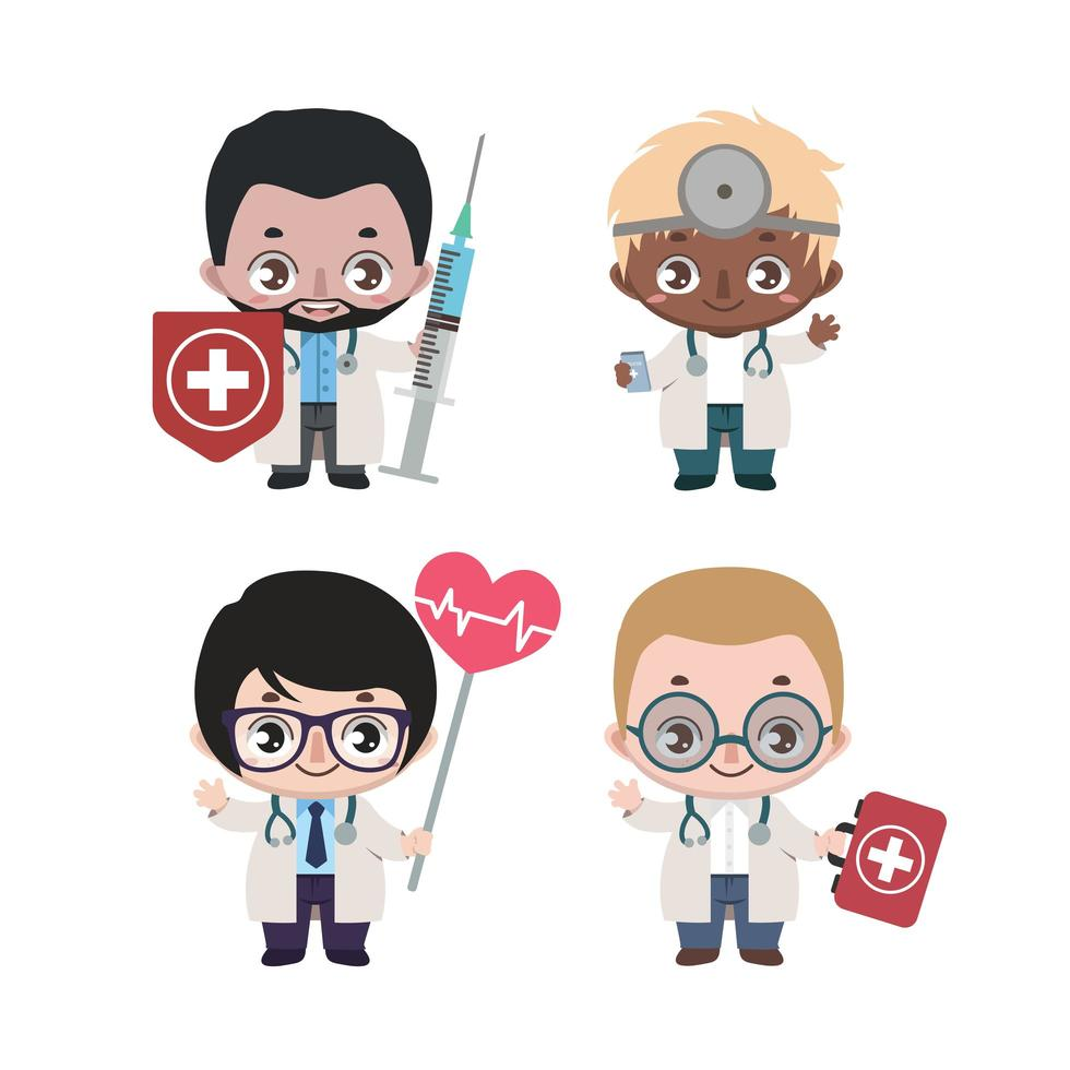 gruppo di diversi medici maschi vettore