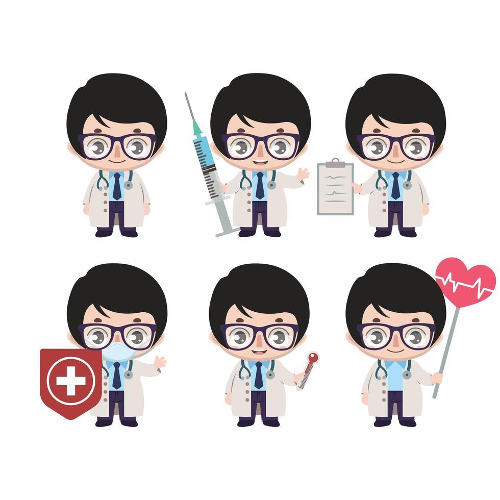 mascotte medico maschio asiatico in varie pose vettore
