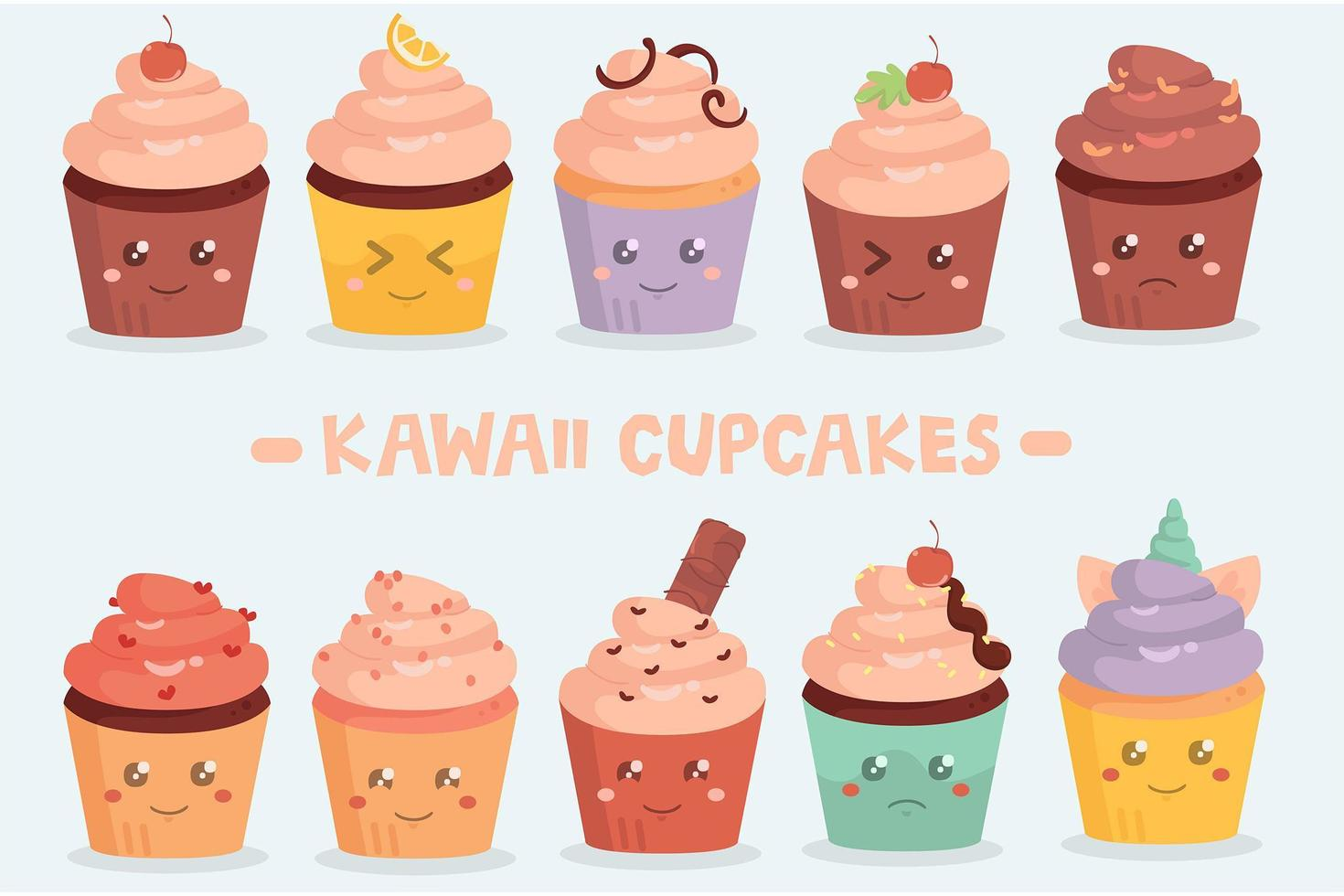 confezione di cupcakes kawaii vettore