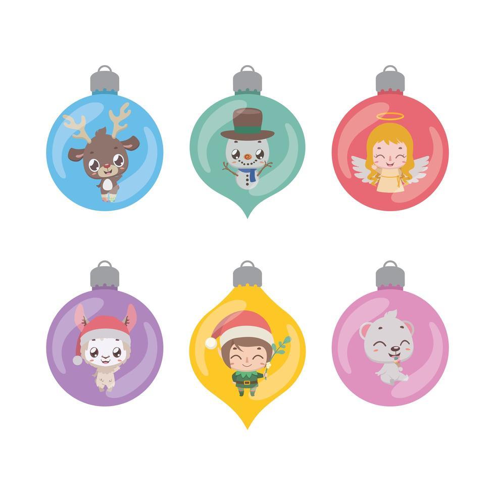 raccolta di varie palline con personaggi natalizi vettore