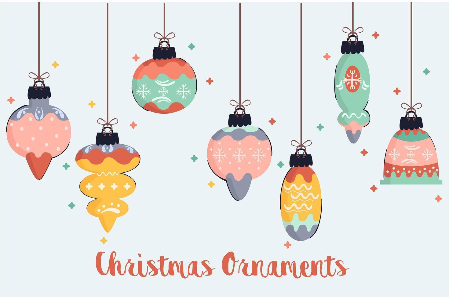 pacchetto di illustrazione di ornamenti di Natale vettore