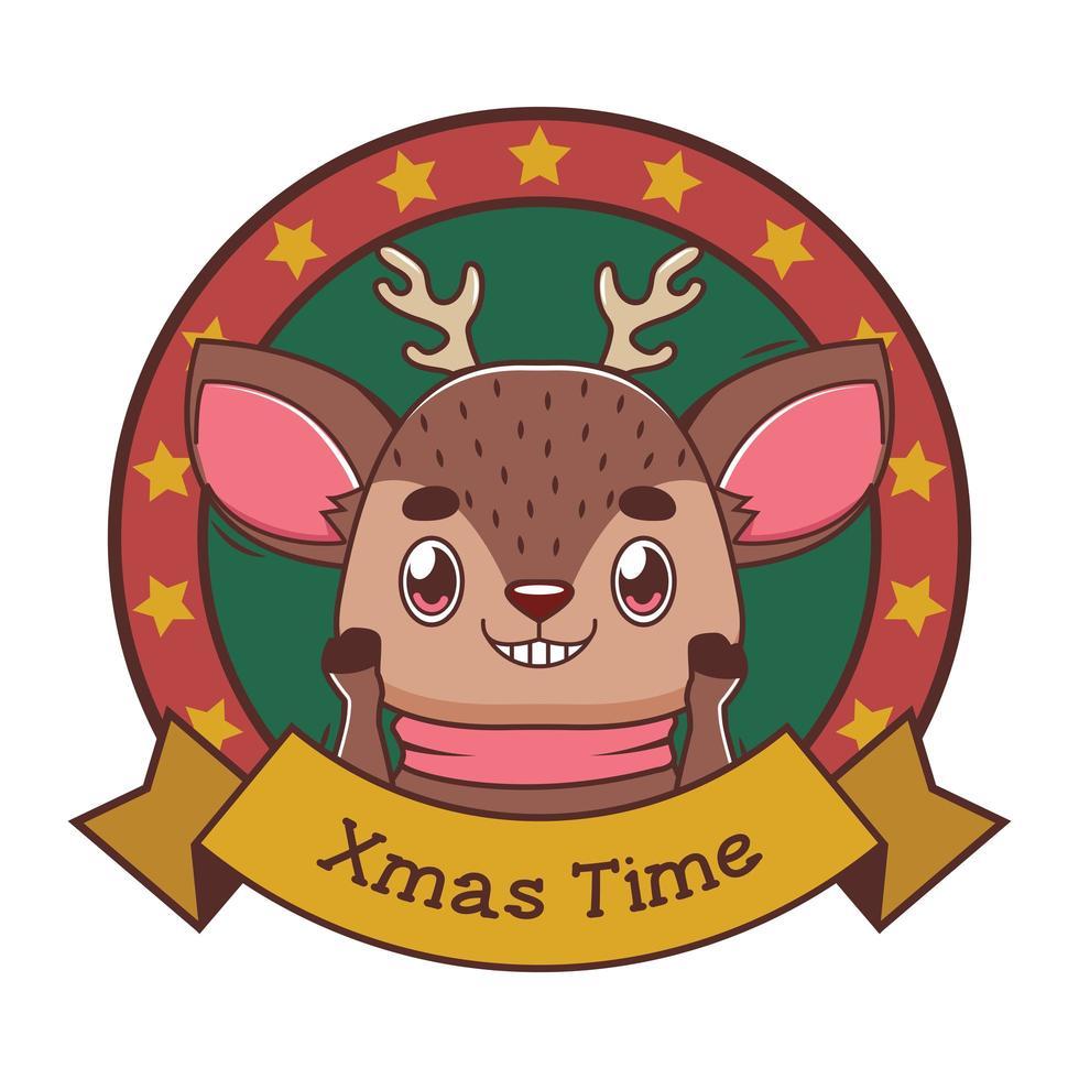 divertente saluto di Natale con le renne dei cartoni animati vettore