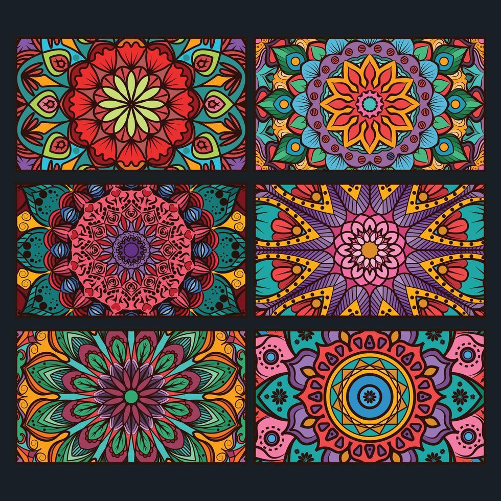raccolta di banner mandala decorativi colorati vettore