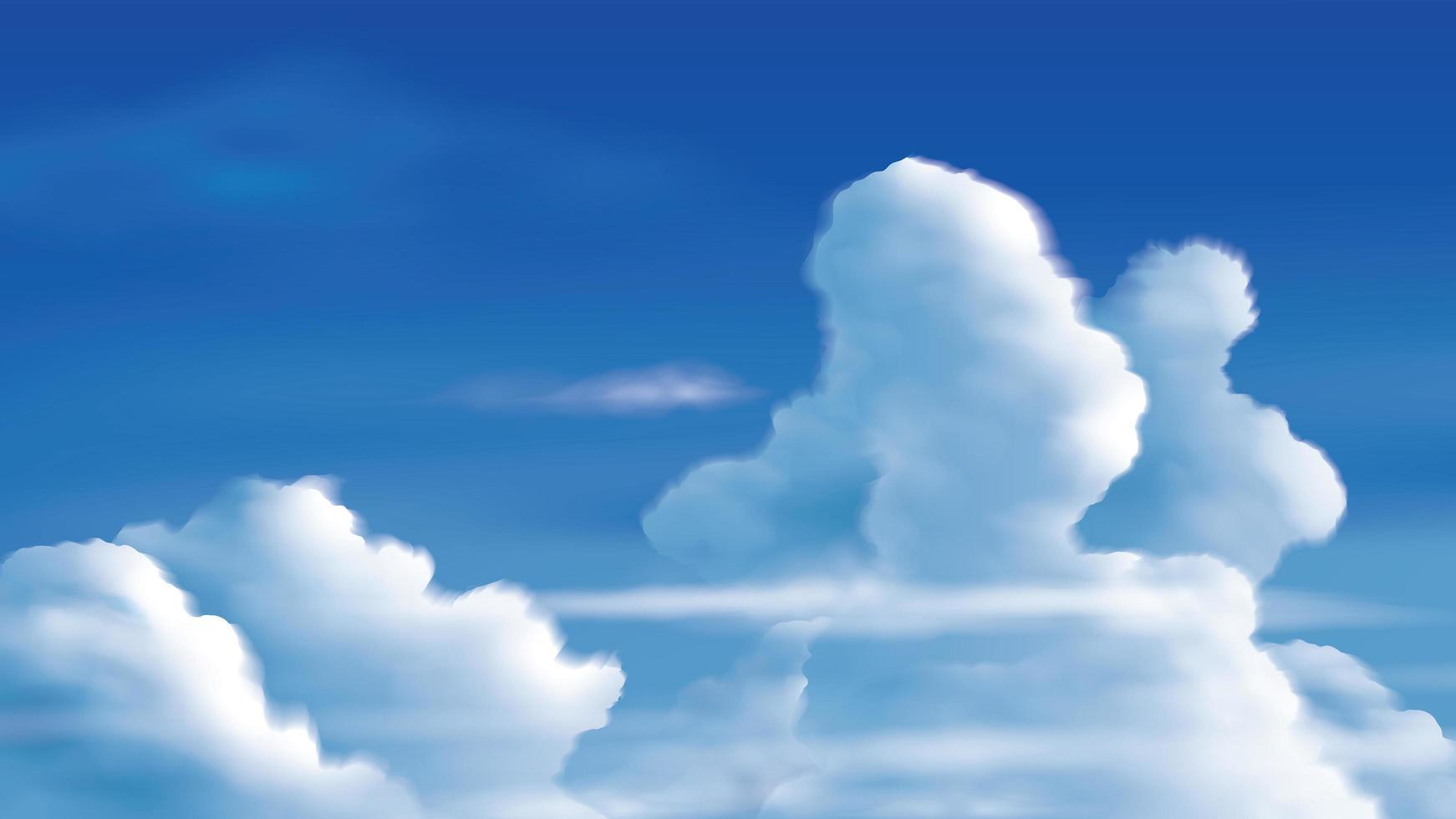cumulonembi sul cielo azzurro vettore
