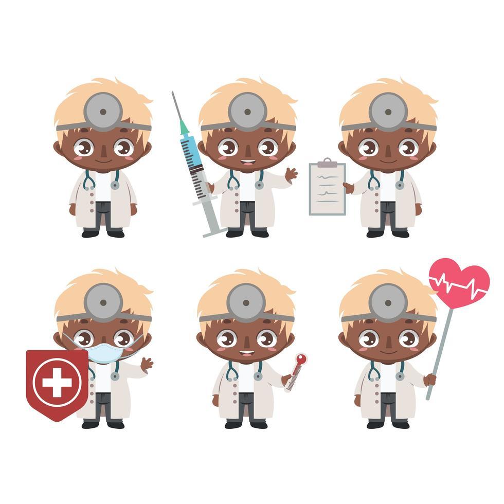 mascotte medico maschio afroamericano in varie pose vettore
