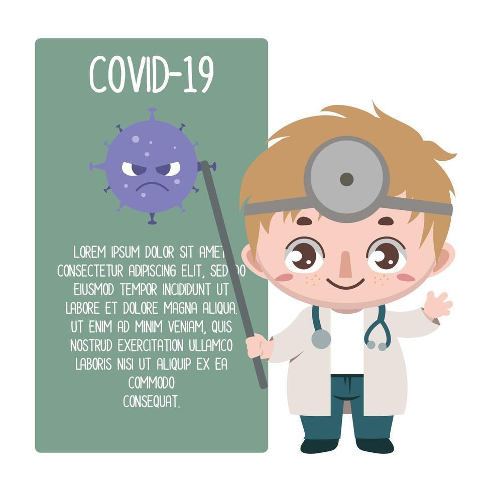medico che dettaglia il covid-19 vettore