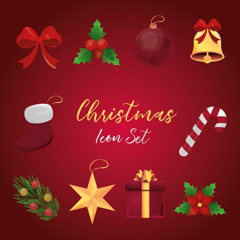 set di icone dettagliate di Natale vettore