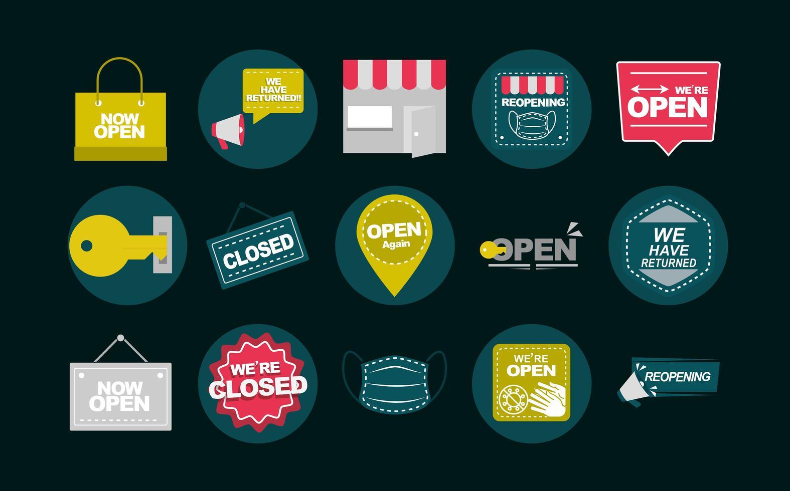 cartelli e cartelli per raccolta di apertura aziendale vettore