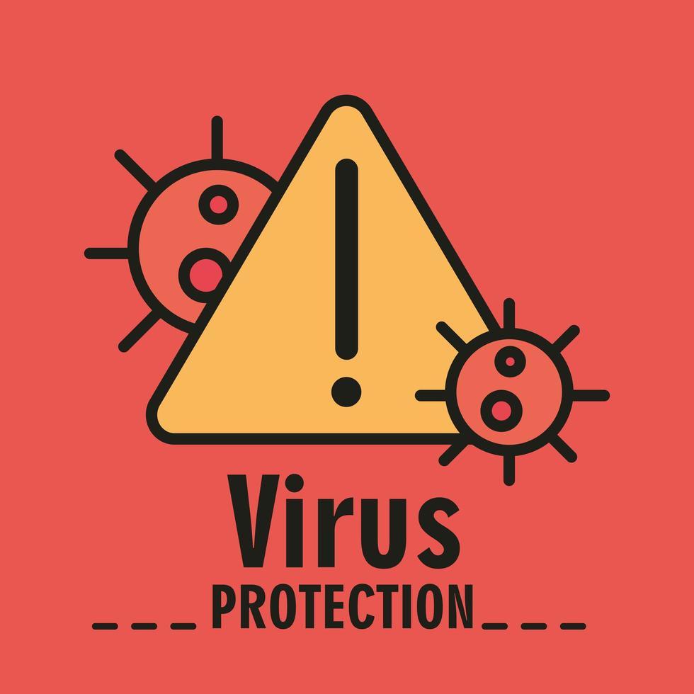 protezione dal coronavirus con segnale di avvertimento vettore