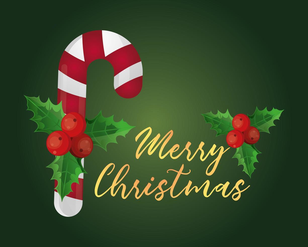 biglietto di auguri di Natale con zucchero filato vettore