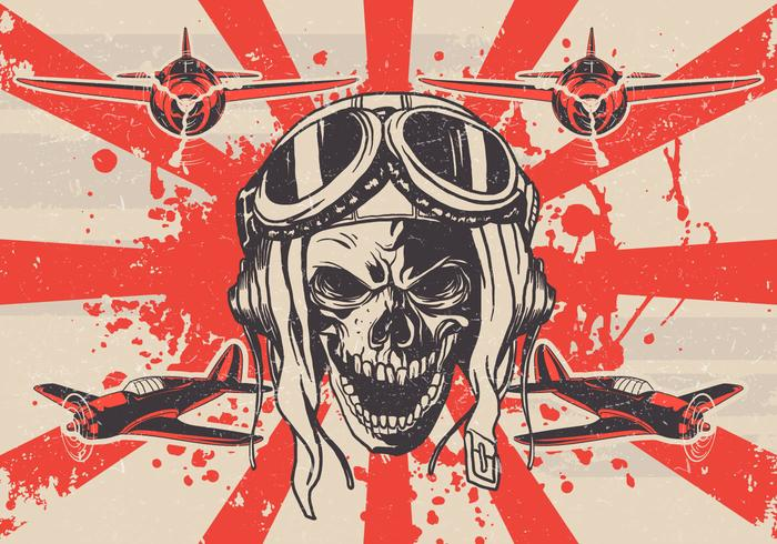 vettore di cranio kamikaze grungy