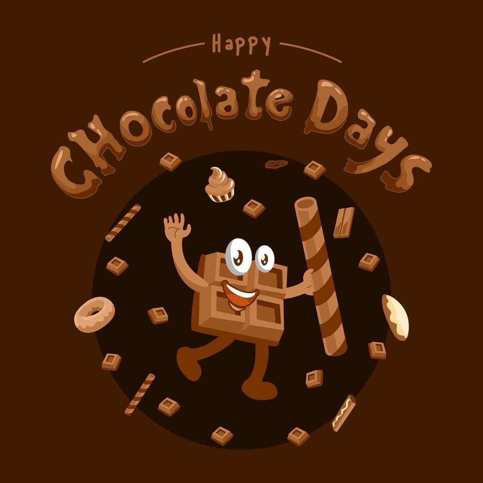 giornata al cioccolato con choco man vettore
