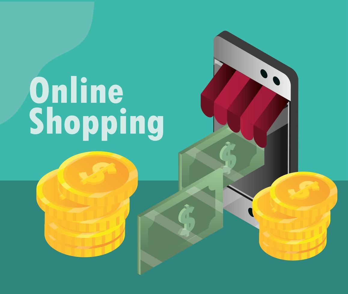shopping online e composizione isometrica e-commerce vettore