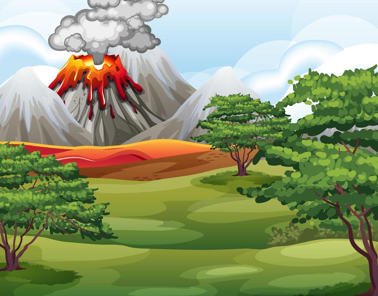 eruzione del vulcano nella scena della foresta naturale durante il giorno vettore