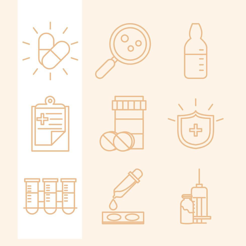 ricerca sui vaccini e collezione di icone scientifiche vettore