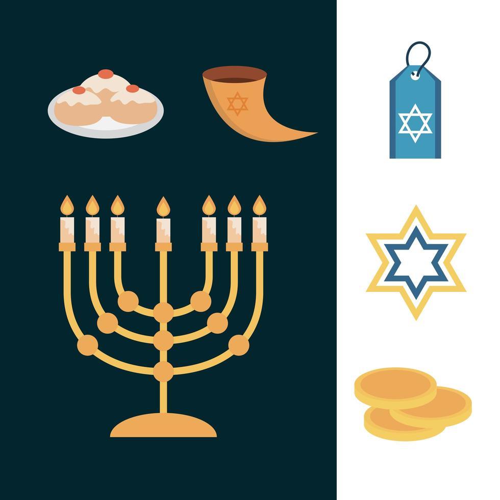 hanukkah, set di icone piatte cerimonia tradizionale ebraica vettore