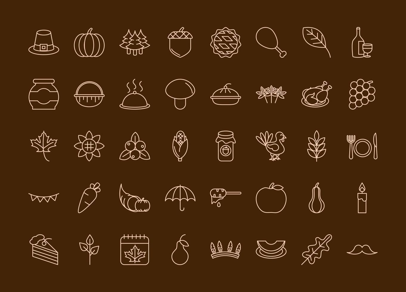 set di icone di celebrazione del giorno del ringraziamento vettore