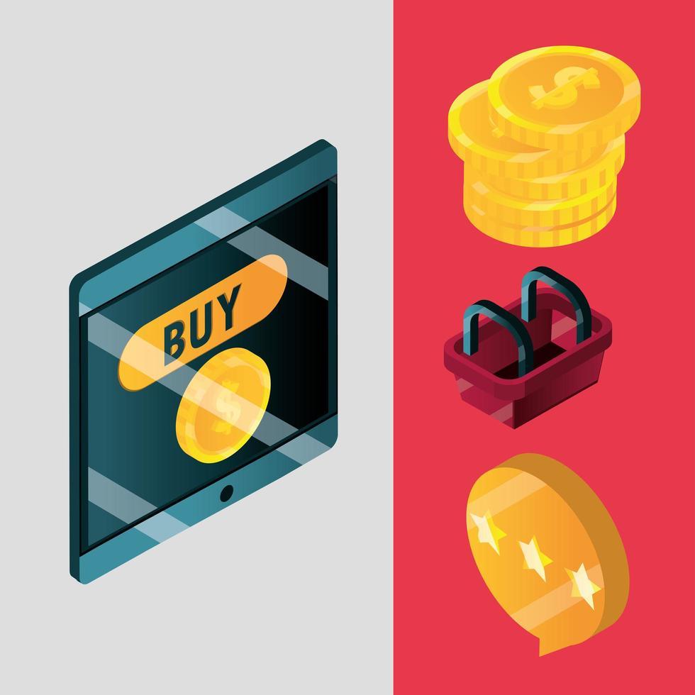 set di icone isometriche di shopping online ed e-commerce vettore