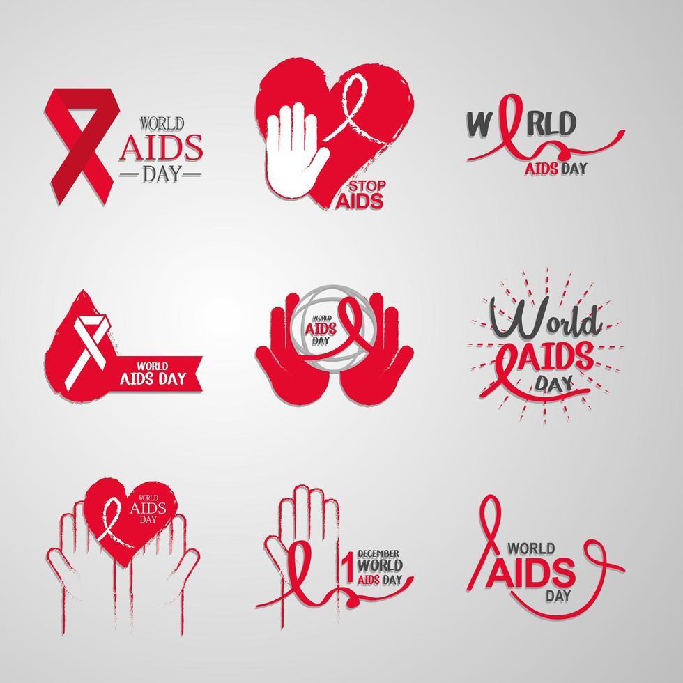collezione di icone di consapevolezza della giornata mondiale contro l'AIDS vettore