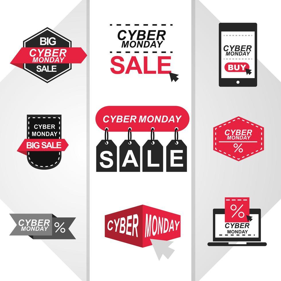 set di icone di vendita cyber lunedì vettore