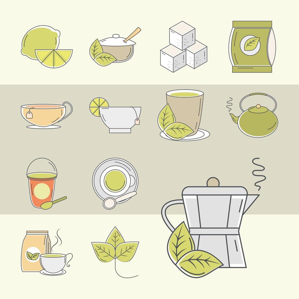 set di icone di tempo del tè vettore