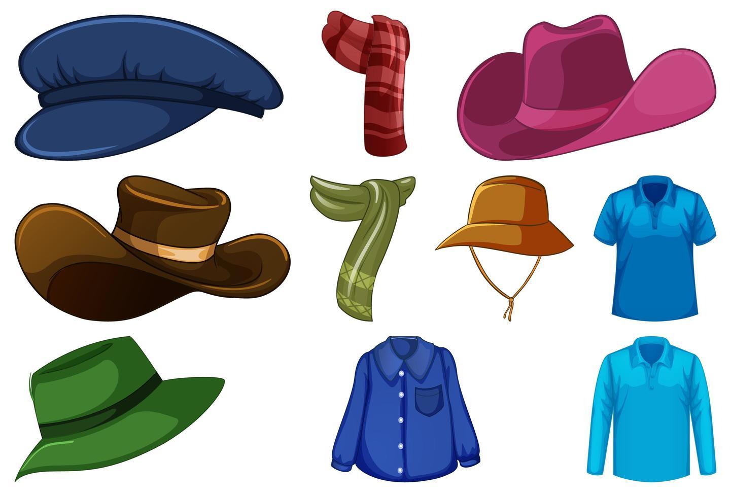 set di cappelli e sciarpe alla moda vettore