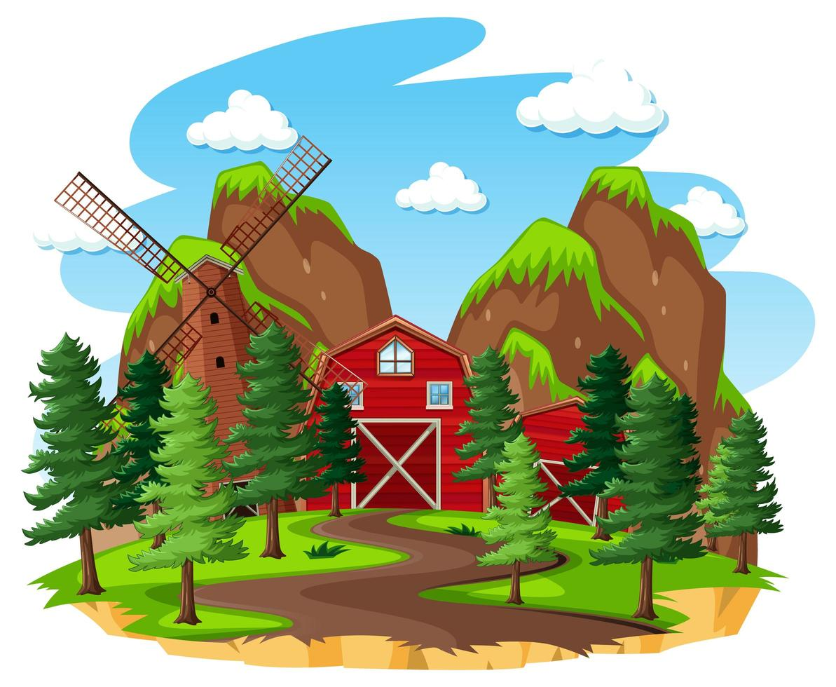 fattoria con fienile e mulino a vento su sfondo bianco vettore