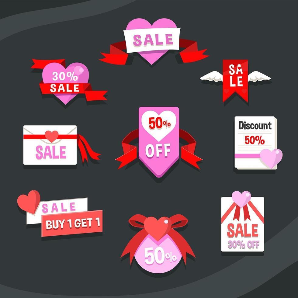 dolce etichetta rosa cuore di San Valentino vettore