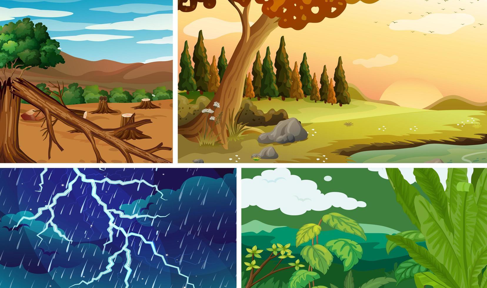 quattro diverse scene di calamità naturali vettore
