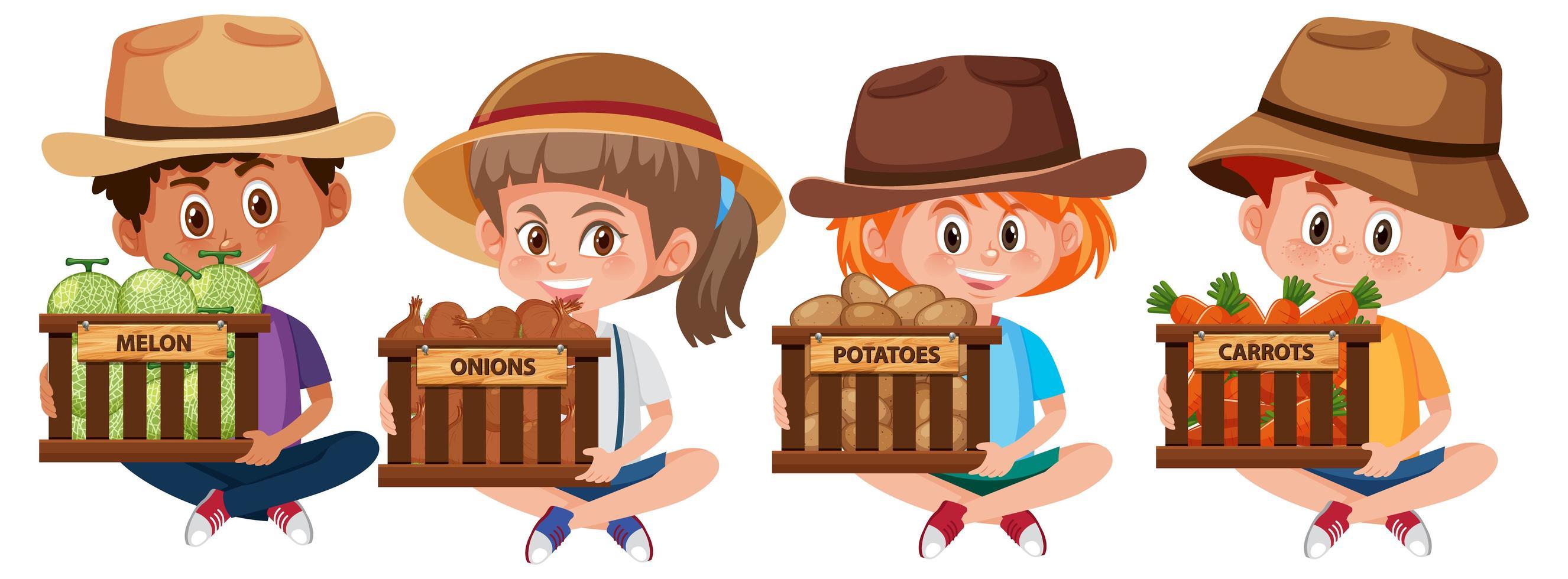 set di diversi bambini che tengono cesti di frutta e verdura vettore