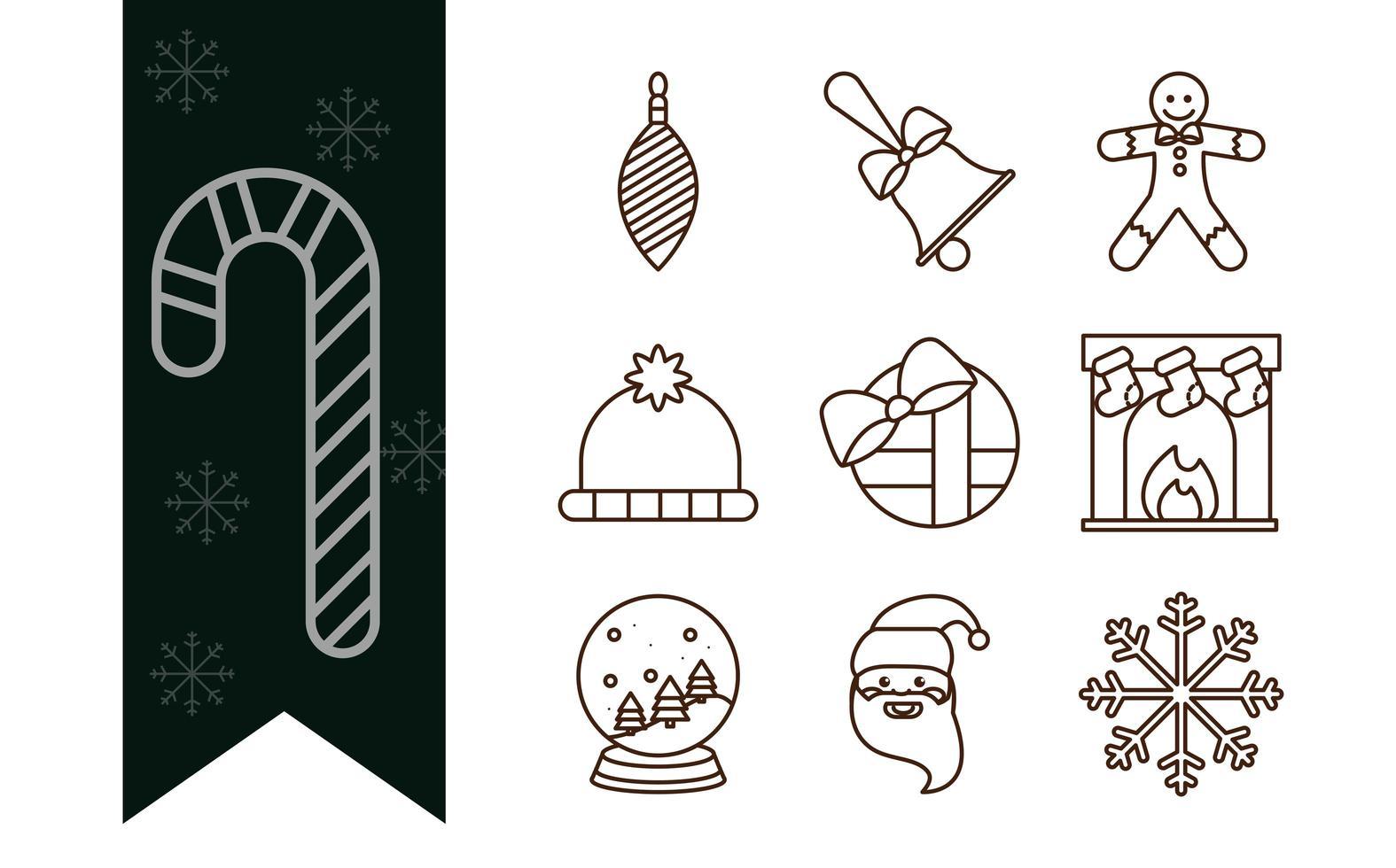 collezione di icone natalizie line-art vettore