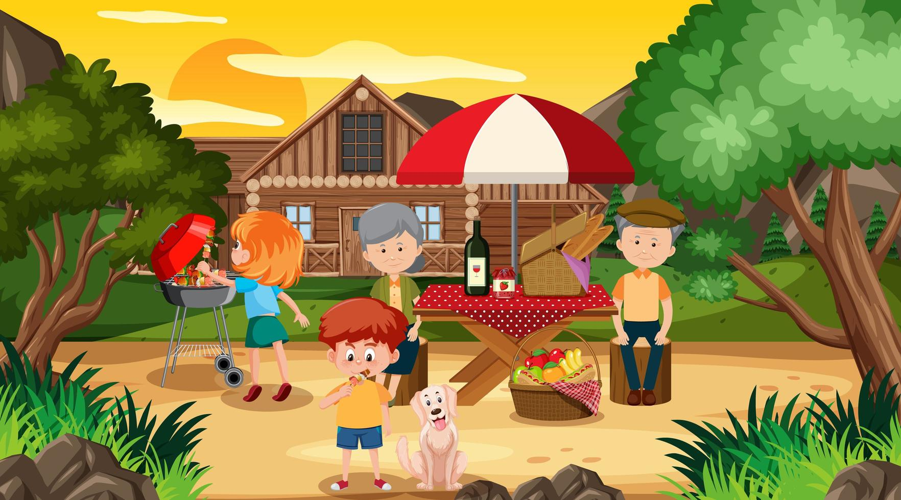 scena di picnic con la famiglia felice davanti a casa vettore