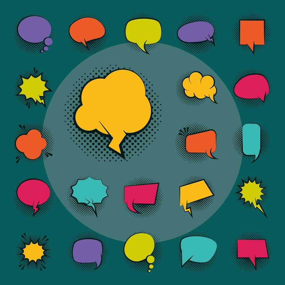 set di icone di bolle di discorso in stile pop art vettore