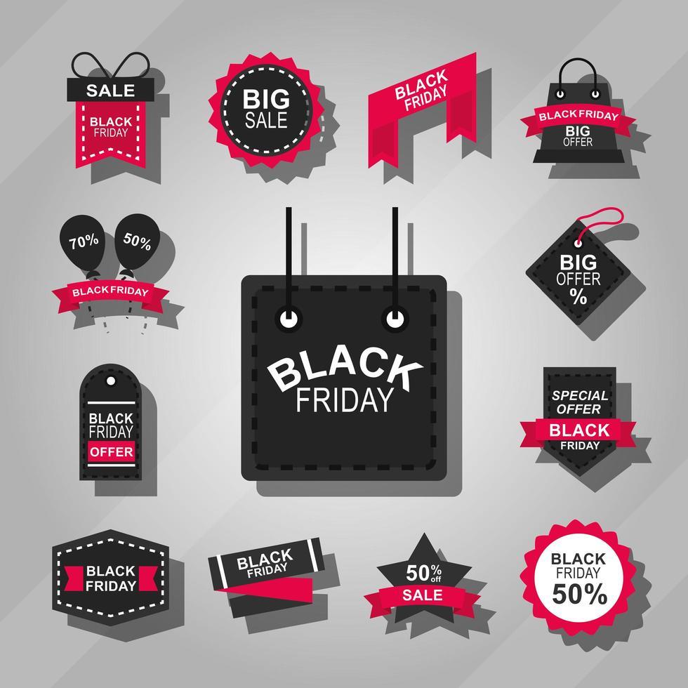 collezione di icone di vendita venerdì nero vettore