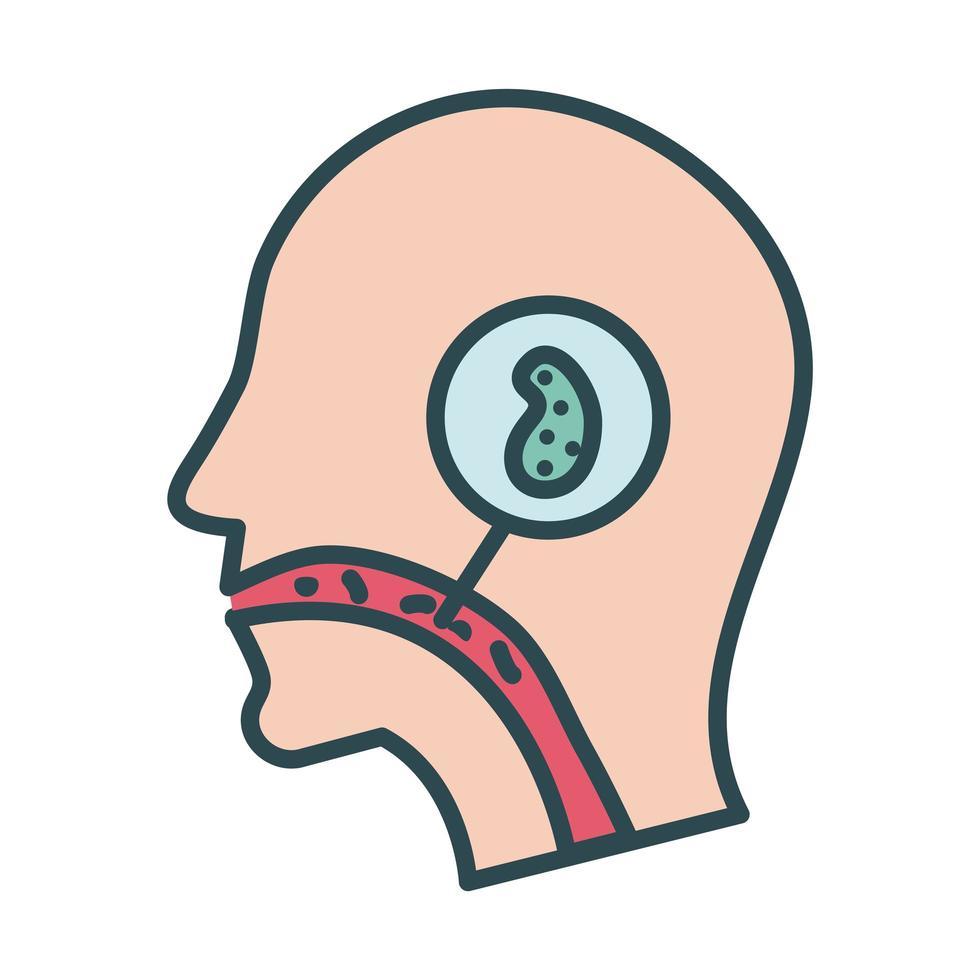 profilo con l'icona di riempimento covid 19 della cellula infetta vettore