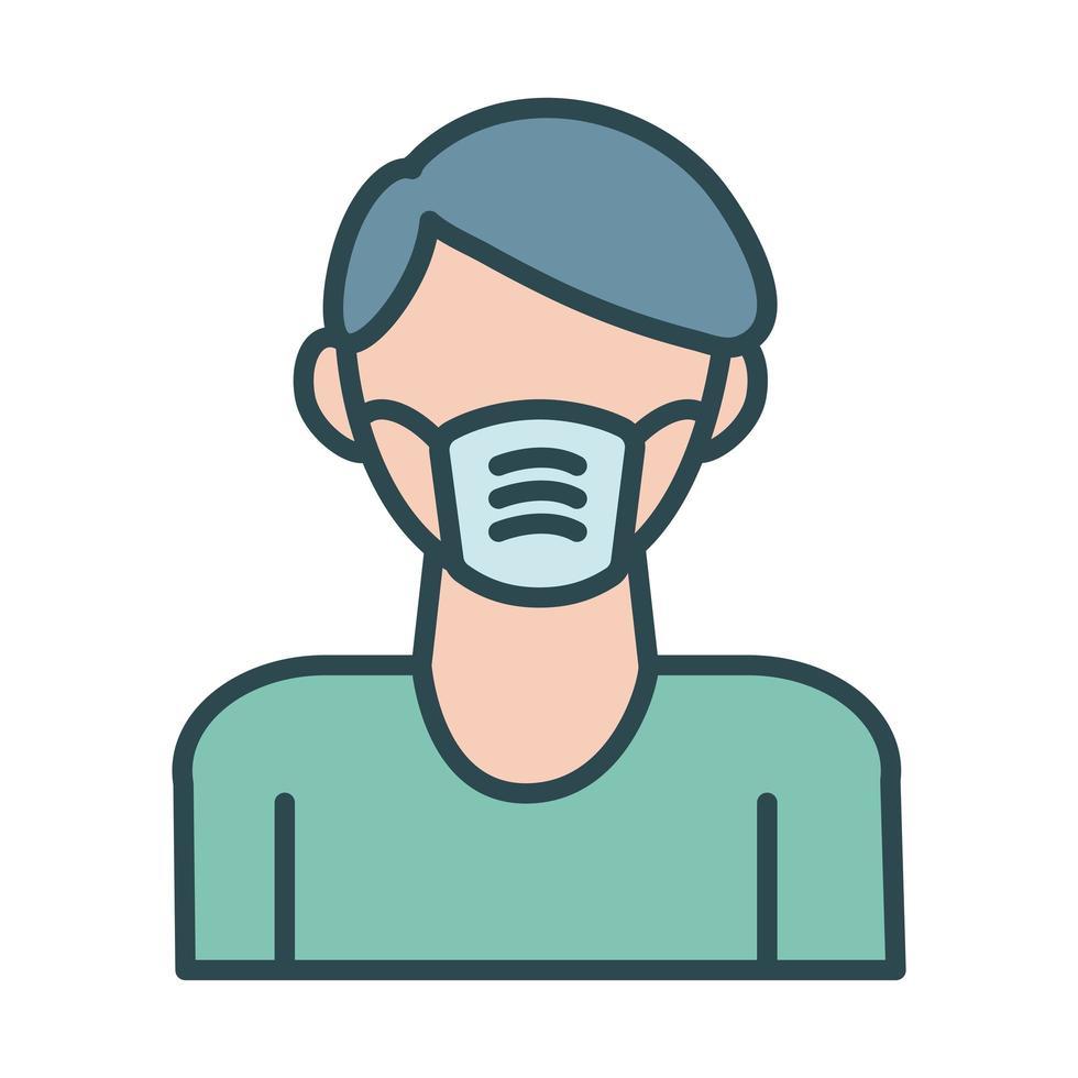 uomo che utilizza lo stile di riempimento accessorio maschera facciale vettore