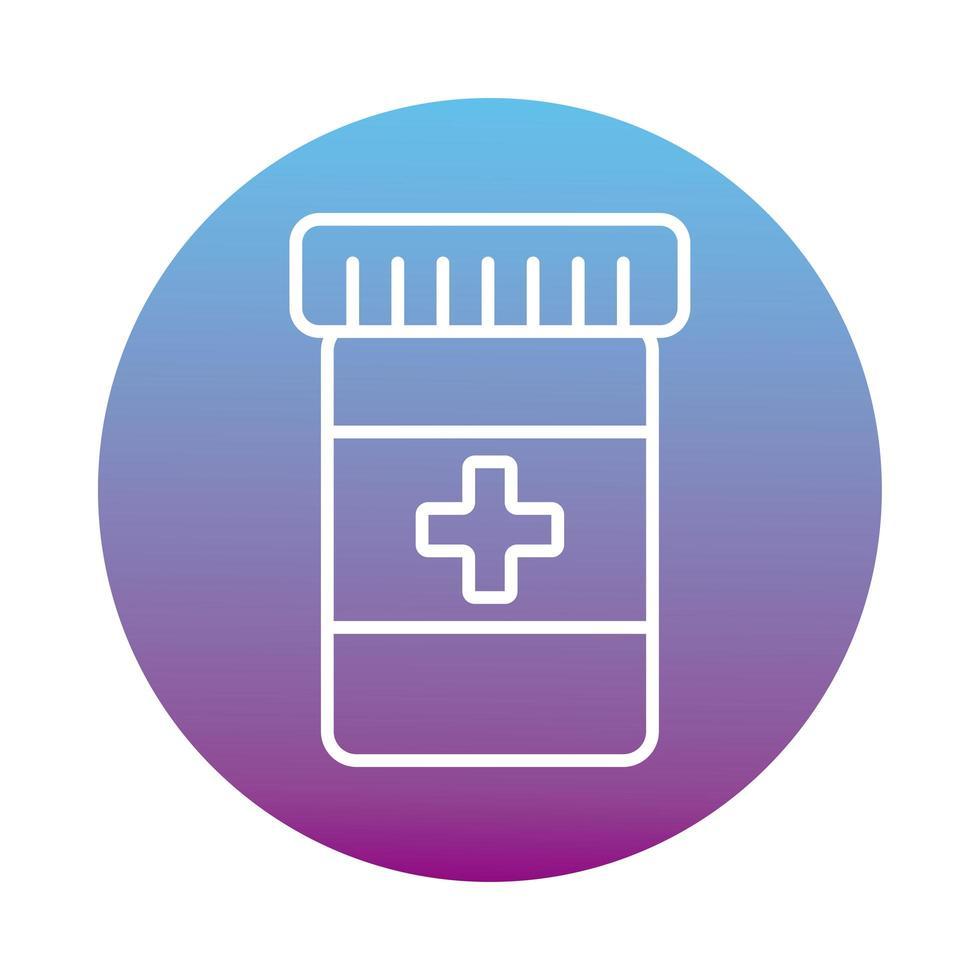 stile blocco farmaci bottiglia medica vettore