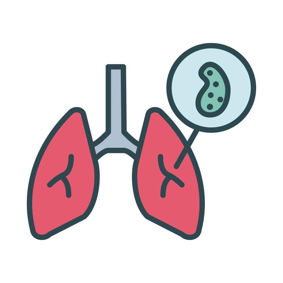 polmoni con stile di riempimento delle particelle del virus covid19 vettore