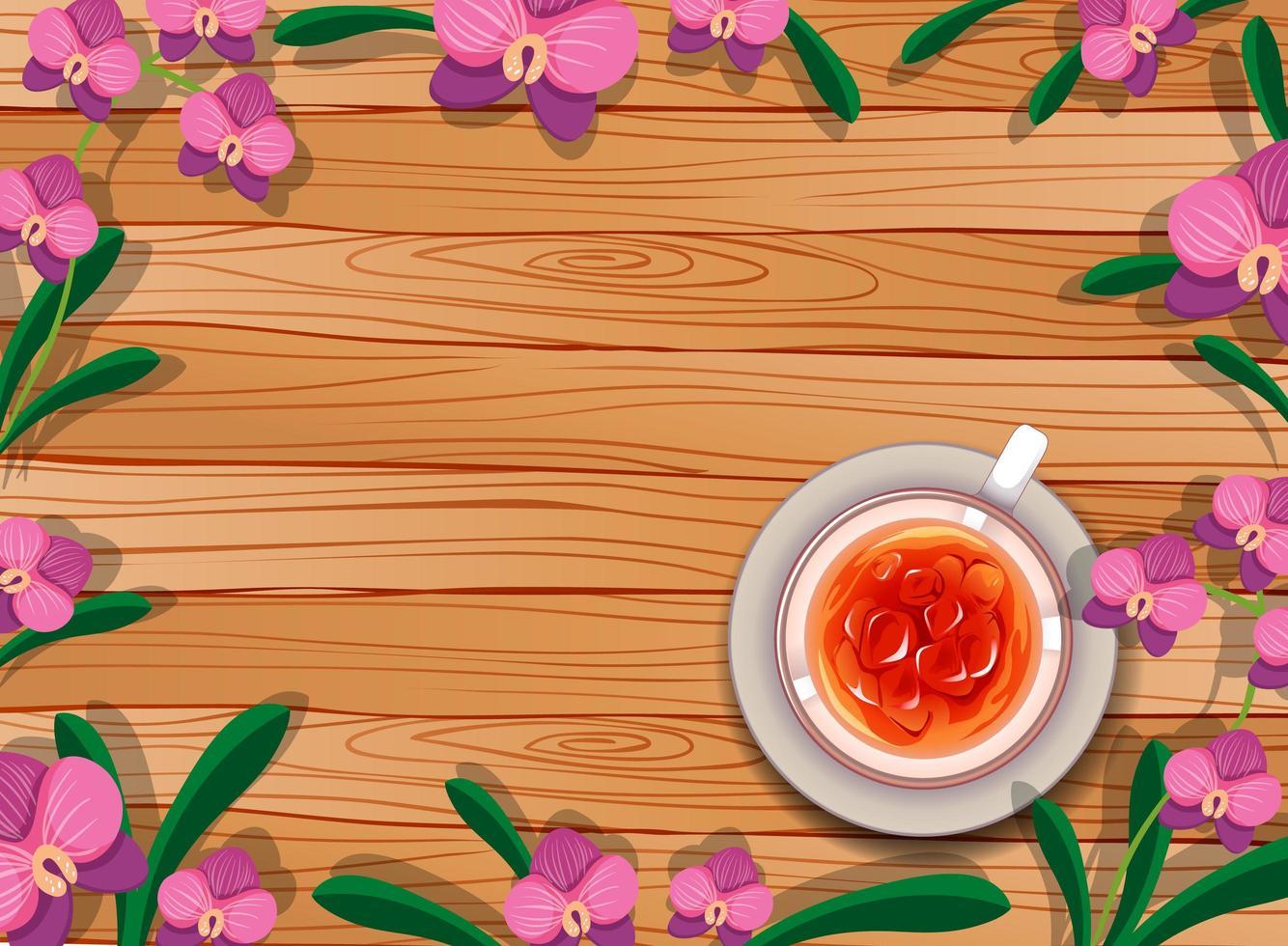 vista dall'alto del tavolo in legno bianco con tè e fiori vettore