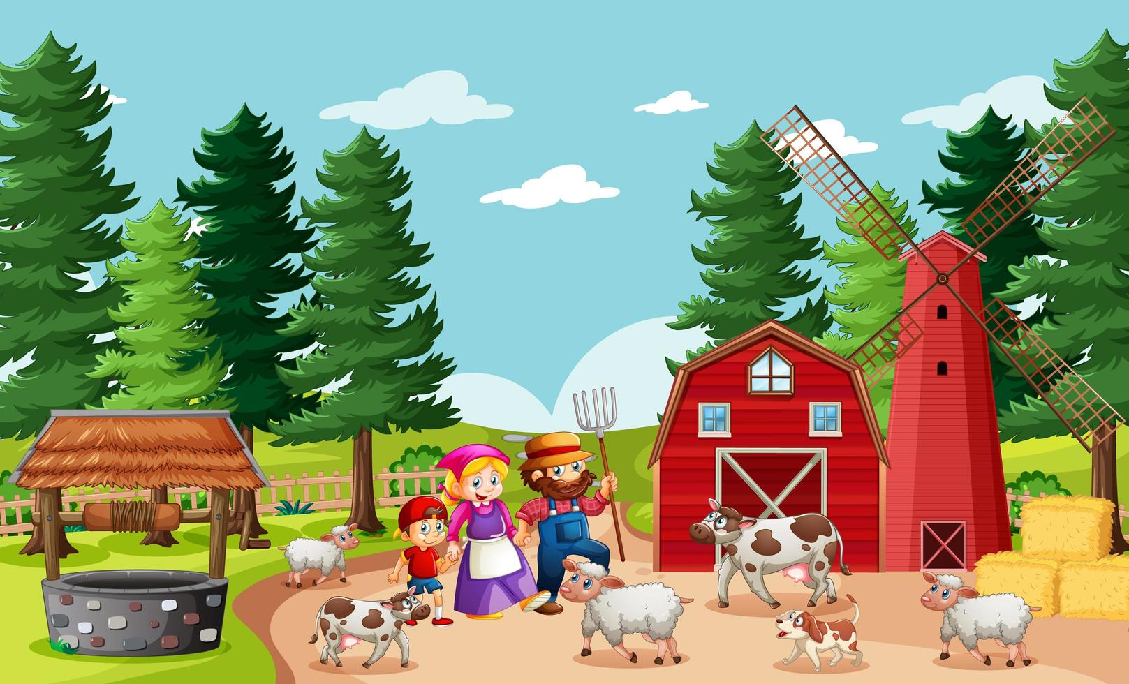 famiglia felice nella scena della fattoria vettore
