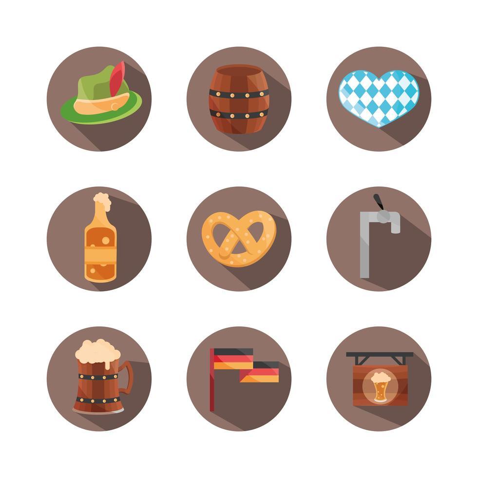 festival della birra più oktoberfest e set di icone di celebrazione tedesca vettore