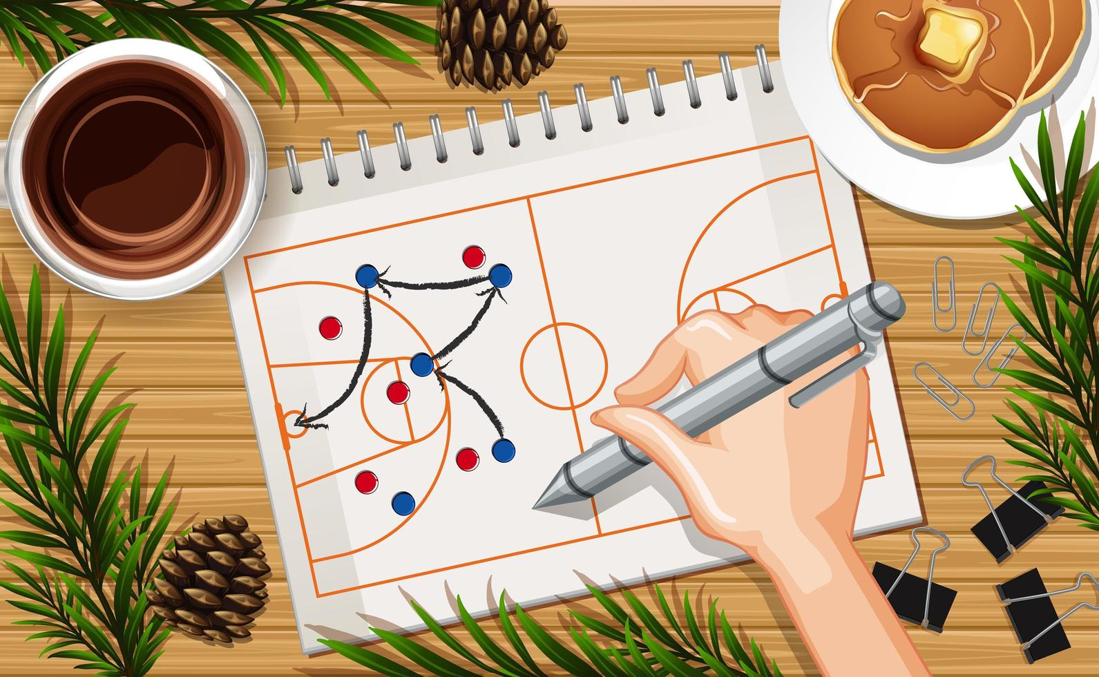 il basket di disegno a mano gioca su carta vettore