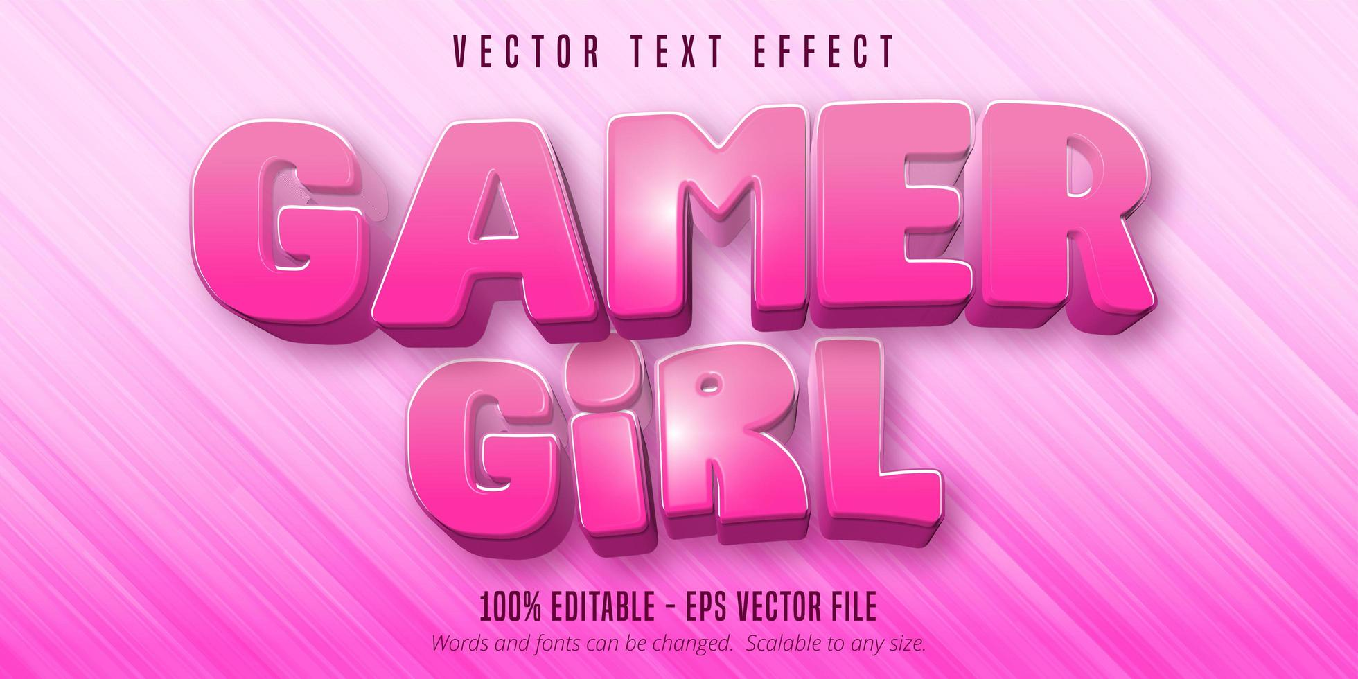 testo della ragazza del giocatore, effetto di testo modificabile in stile cartone animato vettore