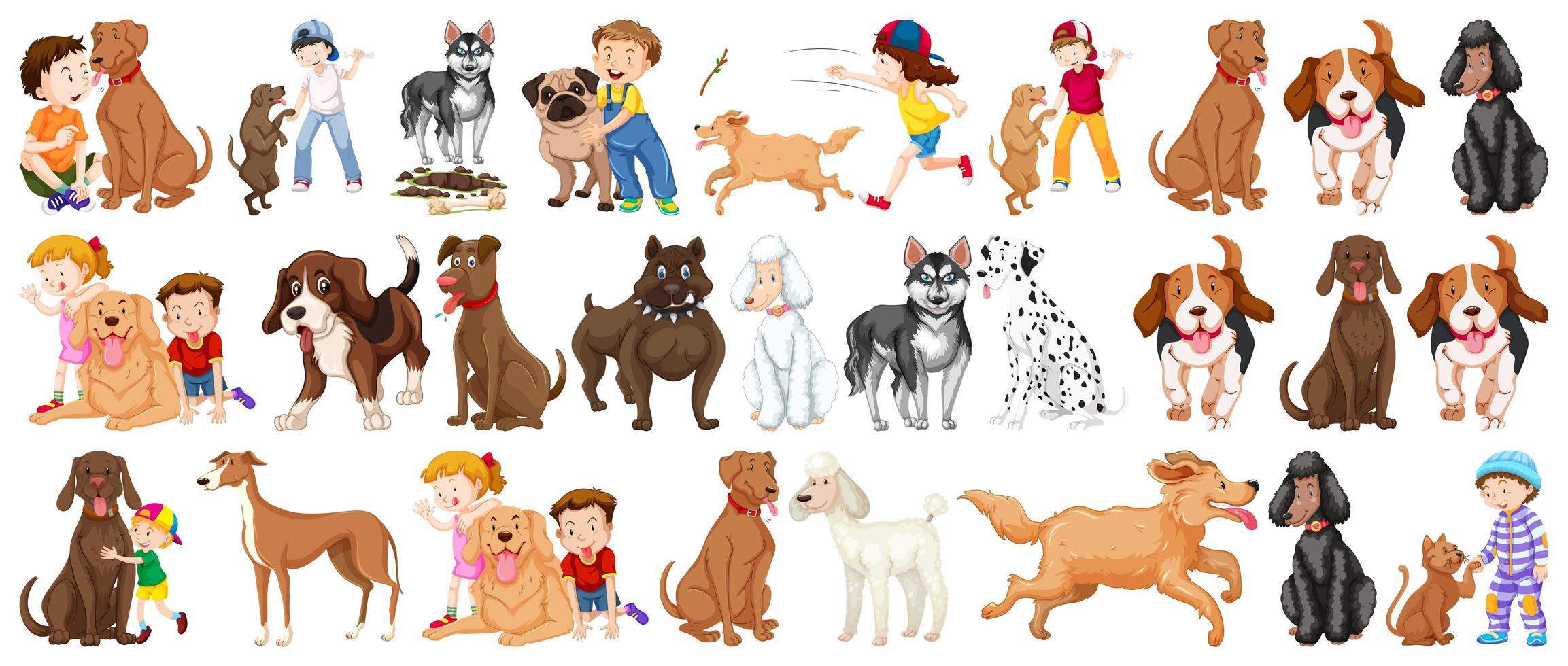 set di personaggi dei cartoni animati di cane vettore