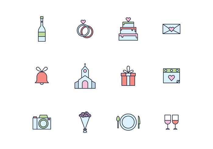 Icone semplici di nozze delineate vettore