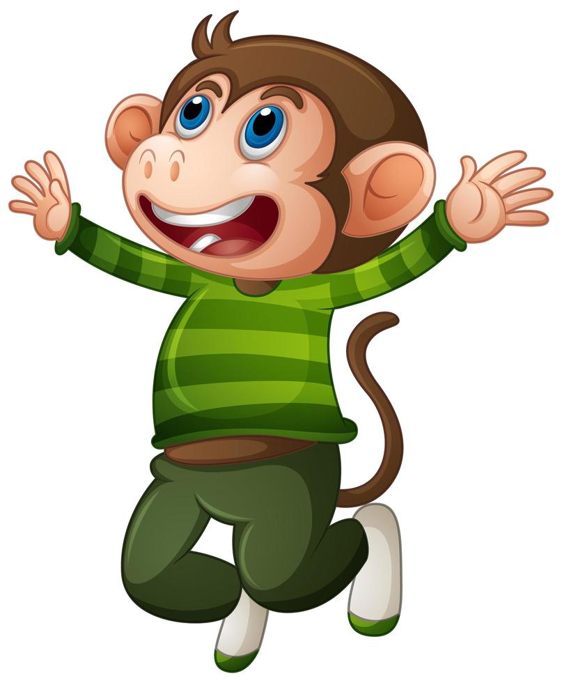 scimmia carina che indossa personaggio dei cartoni animati di t-shirt vettore