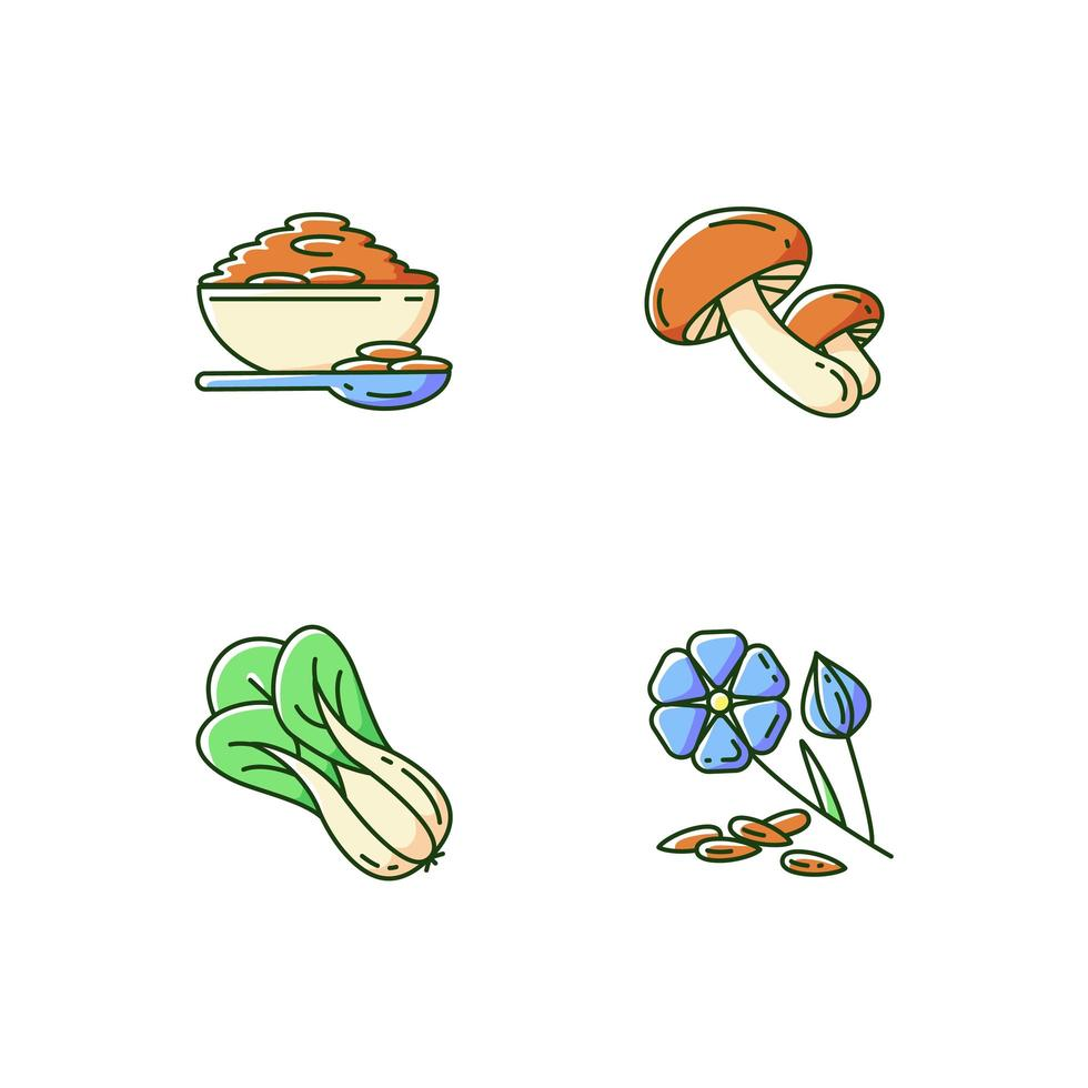 set di icone di cibo sano vettore