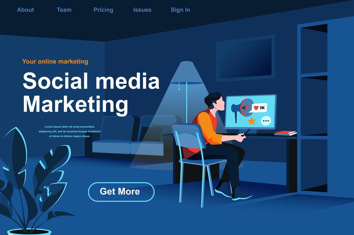 pagina di destinazione isometrica di social media marketing. vettore