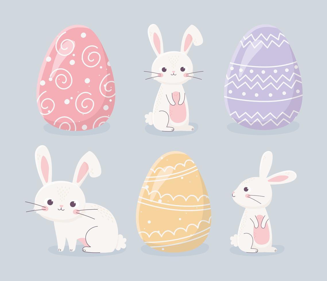 insieme di celebrazione del coniglio e dell'uovo di Pasqua vettore