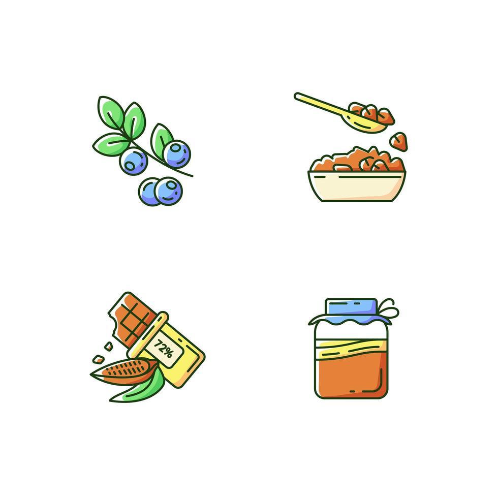 pasti vegetariani sani, set di icone di colore rgb vettore